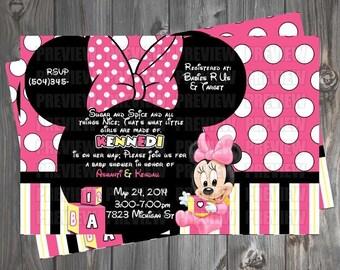 Baby Minnie Baby Shower Invitation