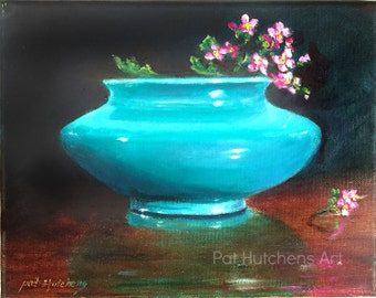 "Gift/ Teal Green ""Flowers From the Garden"" Giclee Print, Small Painting, art, Still Life Painting, Paintings with teal green"