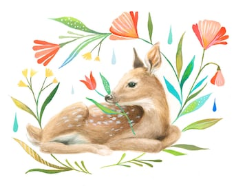 Fawn Art Print | Watercolor Painting | Nursery | Woodland Animal | Floral | 8x10 | 11x14