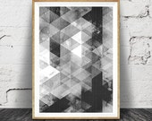 Abstract Black and White Wall Art Print, Geometric Triangles, Printable Instant Download, Scandinavian Mid Century, Modern Decor