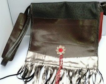 One-Of-A-Kind Computer and Messenger Bag Red and Brown