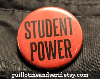 "Student Power - 1.25"" pinback button"