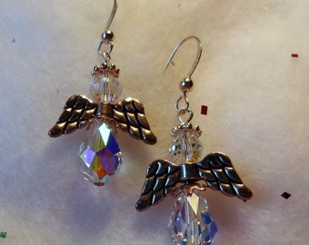 Angle Earrings with Swarovski Crystals