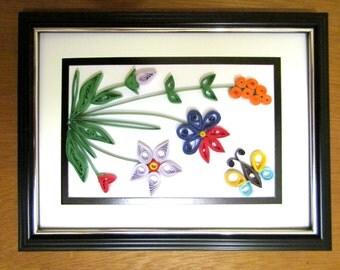 """DIY paper quilling artwork """"colorful flower"""" ,handmade Hanging Wall Art pic with frame, Home Decor, artist original holiday gifts by YJMai"""