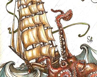 Octopus Attack (Print)