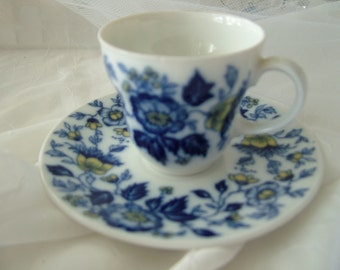 Small miniature collectable Bavaria W German blue cup and saucer