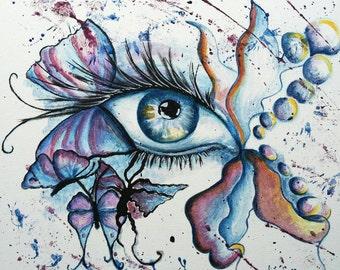 ice eye, acrylic painting, frame, image, acrylic, eye, abstract, surreal