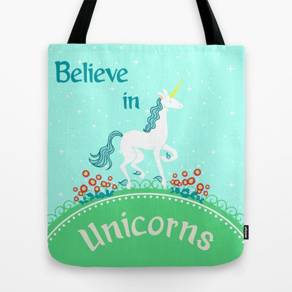 Believe In Unicorns: Believe In Unicorns Tote Bag: Library Bag By