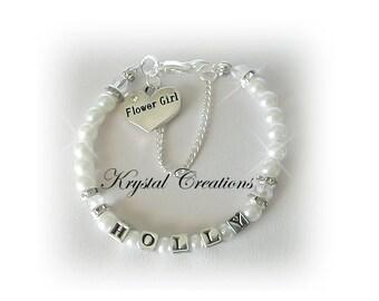 FLOWER GIRL Clear Swarovski N White Pearl Name Bracelet Wedding party gift