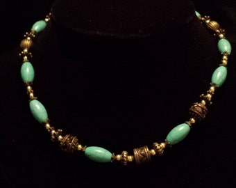 Turquoise and Antique Gold Necklace (N13)