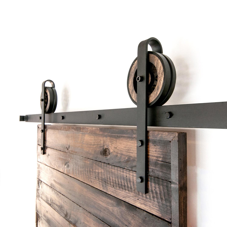 Sliding Doors Hardware: Vintage Rustic Thin Strap Sliding Barn Door Hardware