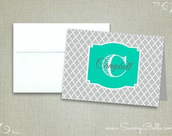 Personalized thank you notes, folded, blank, quatrefoil, notecards, wedding notecards, stationery, letterhead