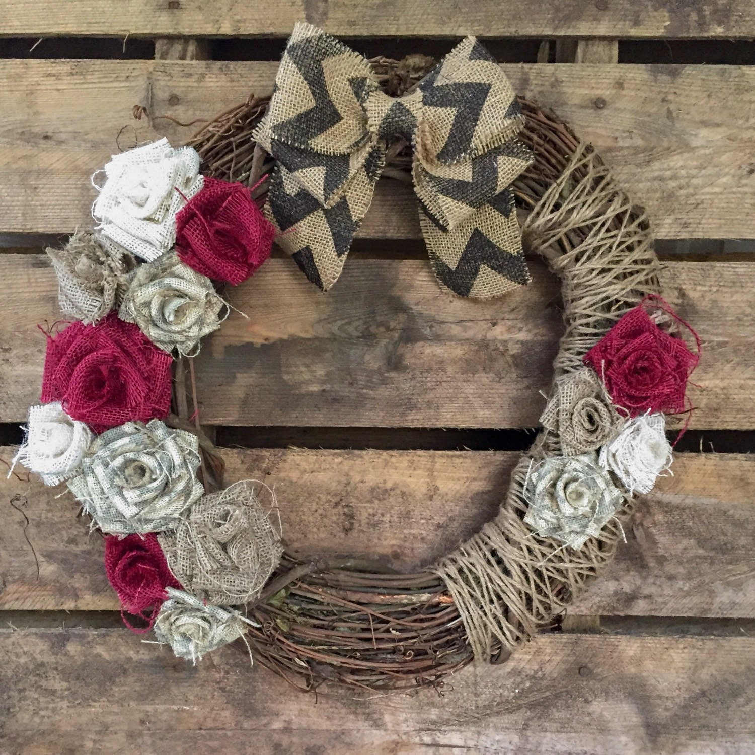 how to make a burlap wreath with grapevine