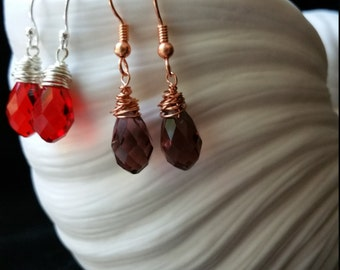 Wire Wrapped Glass Briolette Earrings