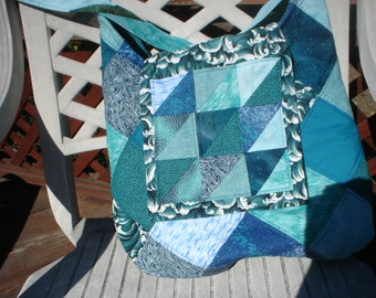 Quilted Water Blue Hobo Bag