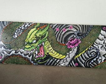Mixed Media Skateboard Art | Water Dragon READY TO SHIP