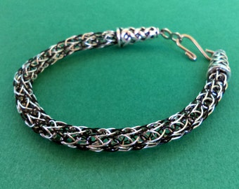 Two-Toned Silver and Black Viking Knit Bracelet with hook clasp