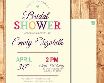 "Personalized Bridal Shower Invitation - Wedding Shower Invite - 5"" x 7"" Printable Digital File - CB-01"