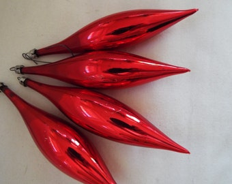 "4 pcs. 6"" jumbo red glass teardrop icicle ornaments"