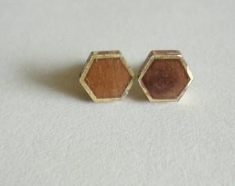 Brown Hexagon Earrings