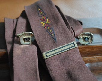 Vintage Tie Bar and Crown Cuff Links