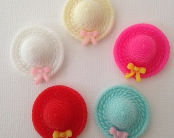 Straw Bonnet Hat with Bow Assorted Flatback Cabochons - 6 Pieces - Resin Kawaii Decoden DIY Phone Case TDK-C1018