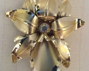 Gold tone vintage orchid brooch aurora borealis stone