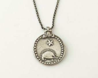 Hedgehog Sunburst Medallion Necklace
