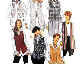 1994 McCall's 7276 Misses' Set of Unlined Vests / Overcoats With Front and Length Variations Sewing Pattern Size XS-M