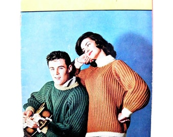 Vintage Mid-century 1961 Teen Knits Book by Villawool featuring 17 knitting patterns for Him and Her
