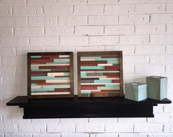 Wood Wall Art - Reclaimed Wood Art - Modern Abstract Wall Art-Greens Reds White