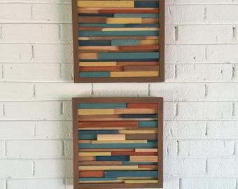Wood Wall Art - Reclaimed Wood Art - Modern Abstract Wall Art- Modern Rustic Art