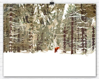 Red Fox in Winter Forest Graphic Art Illustration