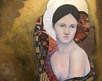 Original Portrait Painting Mixed Media