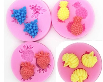 Fruit pineapple strawberry grapes pumpkin, soap molds, silicone mold, fondant mold, chocolate mold, lace mold, cake decoration mold