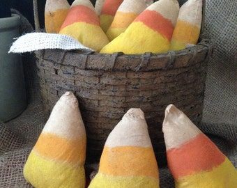 Primitive cloth candy corn bowl fillers