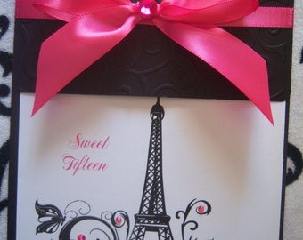 Parisian Sweet 16 Quinceañera Invitations Paris French Eiffel Tower