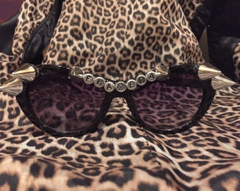 Flazeda Drag Race Inspired Black and Silver OOAK Spiked Sunglasses