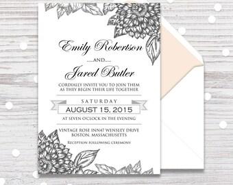 Printable wedding invitation, Wedding invitation template rustic, Wedding Invitation Template, Wedding Invitation PDF, Wedding Invitations