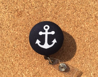 Anchor Badge Reel - Navy Blue with White Anchor - Fabric Covered Button