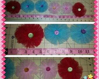 Tutu flowers, Tulle, Embellishment, 6 flowers