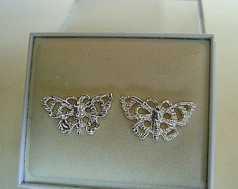 One Pair Sterling Silver Butterfly Stud Studs Earrings
