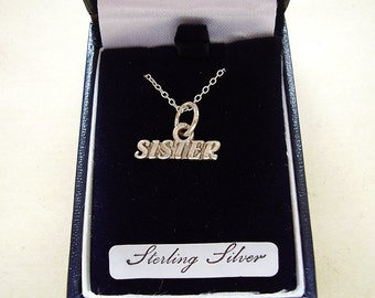 """sterling Silver Sister Pendant With 18"""" Chain In Presentation Box"""