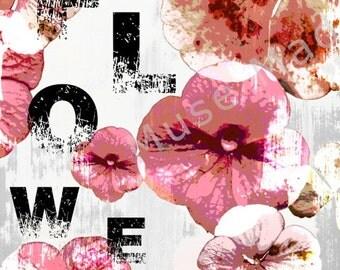 Flowers, Wall Decor, Wall Art, Printable Wall Art, Scrapbook Art, Childrens Room Art