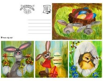 SET of 4 Easter postcards