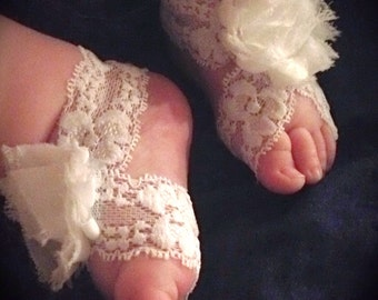 Baby barefoot sandals shabby flower and lace