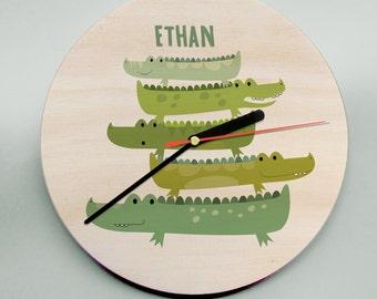 Wall Clock / Personalised  Wall Clock /  Unique Childs Clock / Name Clock / Crocodiles / Alligators / Nursery Clock / Cute Clock