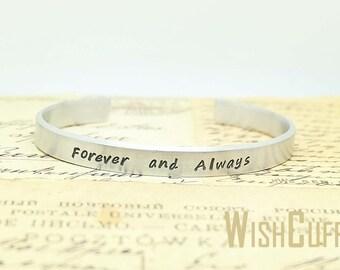 Forever and Always Bracelet - Wife Gift, Anniversary Gift, Personalized Cuff Bracelet, Custom Bracelet, Gift for her, Christmas Gift
