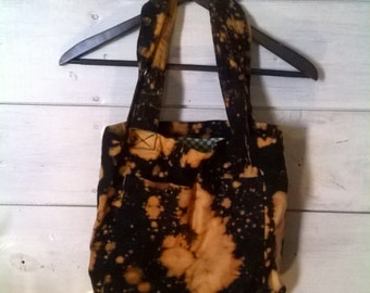 Bleached Tote Bag with Multiple Pockets