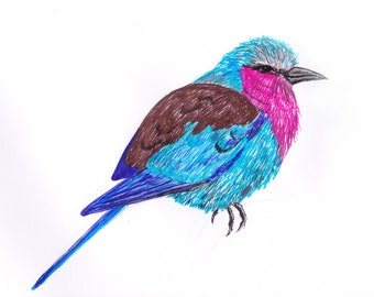 Lilac Roller Pen Illustration Print A4